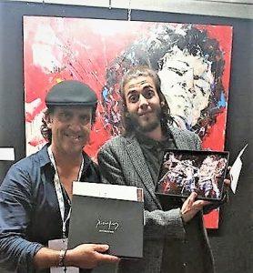 Chet Baker-Fan Salvador Sobral mit Azulejo von Jazz-Maler Xicofran