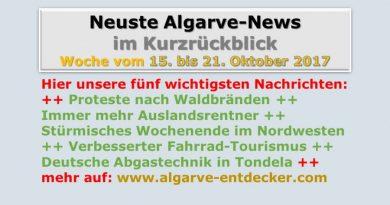 Algarve-news für die KW 42 vomm 15. bis 21. Oktober 2017
