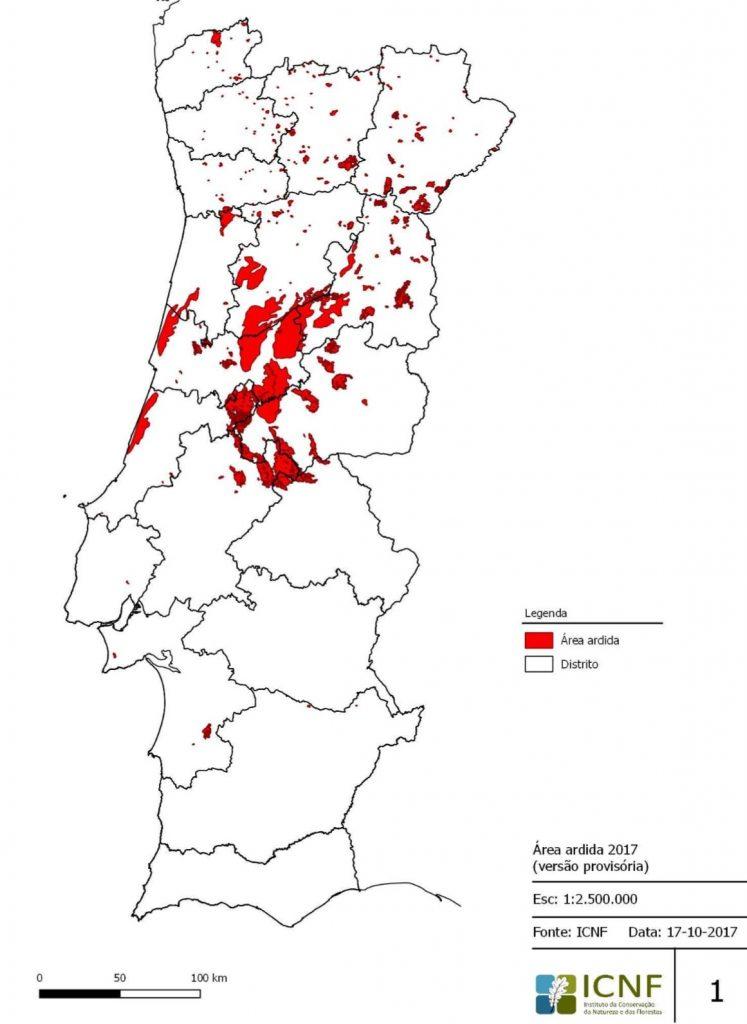 Waldbrand-Bilanz 2017 in Portugal zeigt Schäden in der Mittel und im Norden