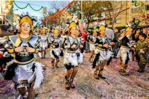 Centeno, Ronaldo, Merkel als Figuren des Karnevalsumzugs 2018 in der Algarve-Hochburg Loule
