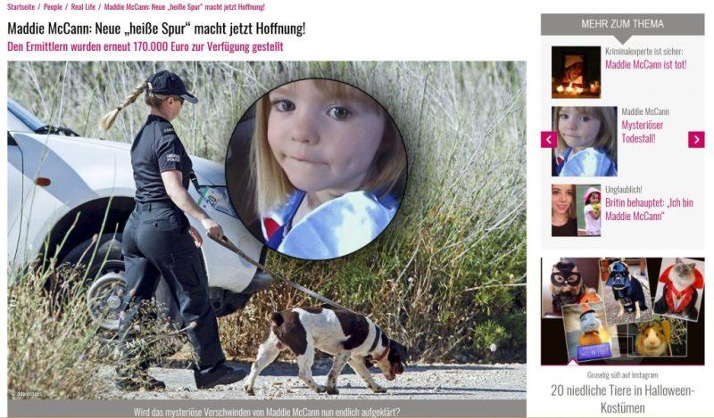 Madelein McCann von Medien zur Boulevardberichterstattung missbraucht