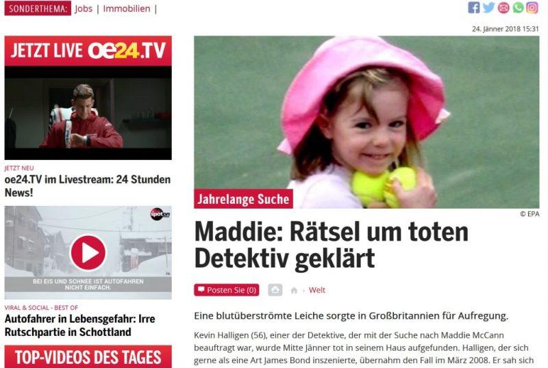 Madeleine McCann auch Thema in österreichischen Boulevardmedien