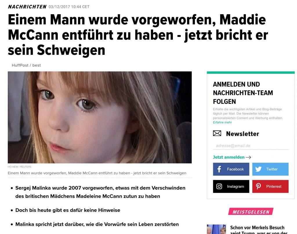 Madeleine McCann bleibt Thema von Boulevardmedien auch in Deutschland