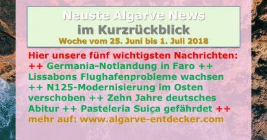 Algarve News für KW 26 vom 25. Juni bis 1. Juli 2018