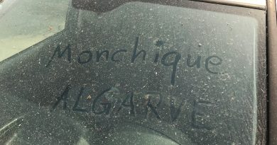 Algarve-Wandbrand in Monchique produzierte Asche-Regen ringsum