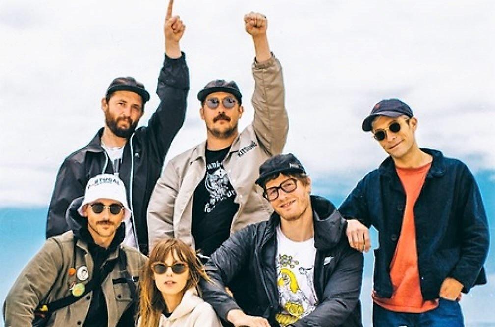 Musikerder Indie-Rock-Band Portugal. The Man tragen Werbe-Kampagne Portugals